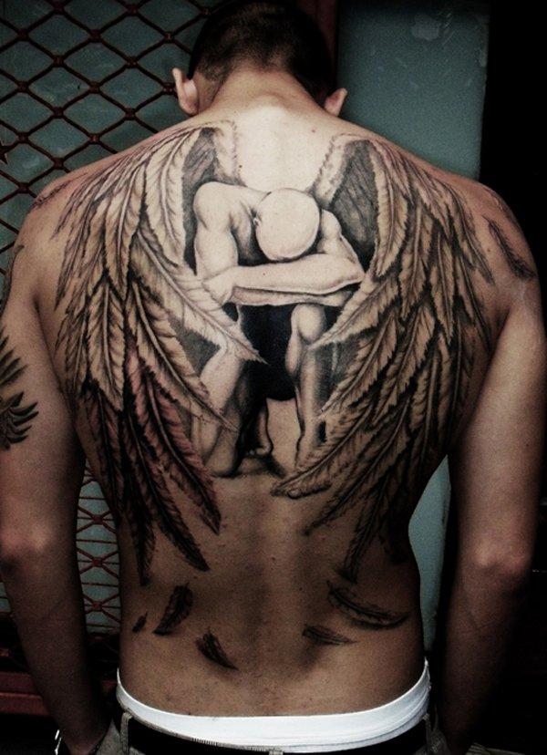 Angel wings full back tattoo