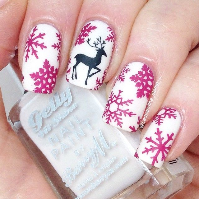 Christmas deer and snowflakes nail art