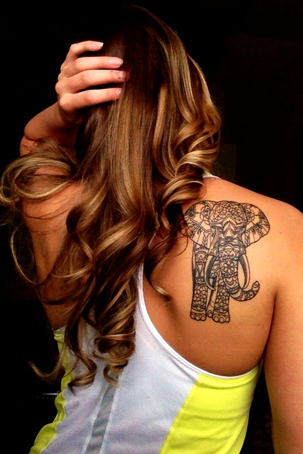 Elephant tattoo on back shoulder for girls