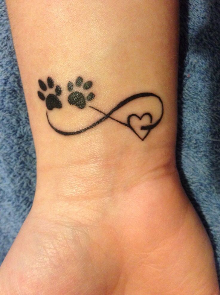 Infinity wrist tattoo with puppy paws and heart symbols
