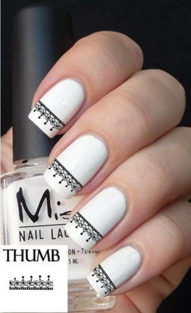 White nails with black lace