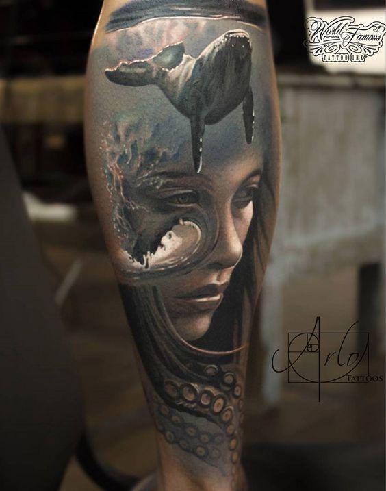 Whale Portrait & Octopus Sleeve tattoo