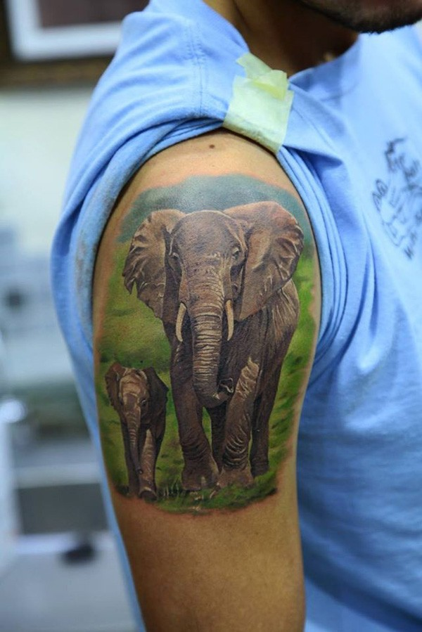 a beautiful picture of elephant life tattoo