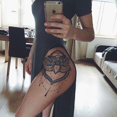 Mandala thigh tattoo