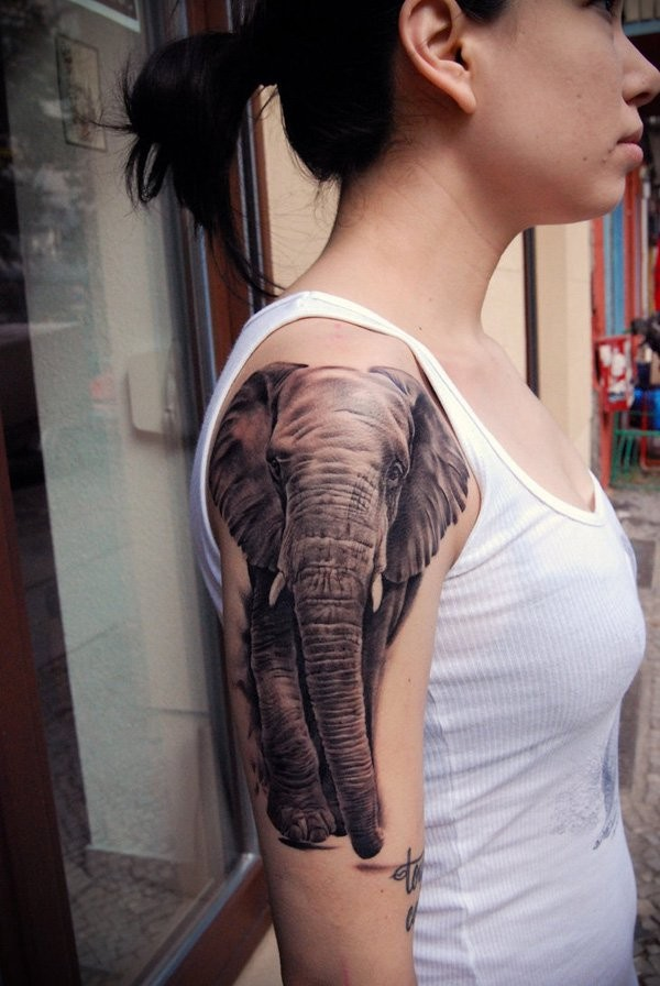 realistic half sleeve elephant tattoo