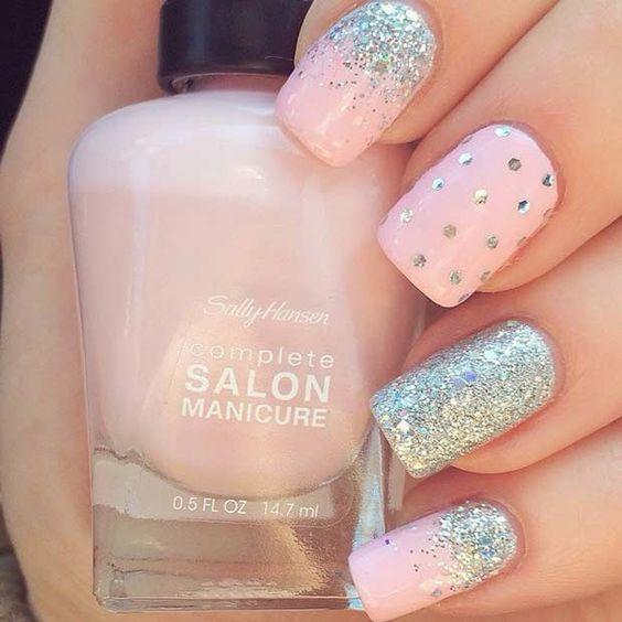 Glitter polka dots on pink nails