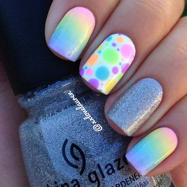 Ombre Polka dots glitter nails