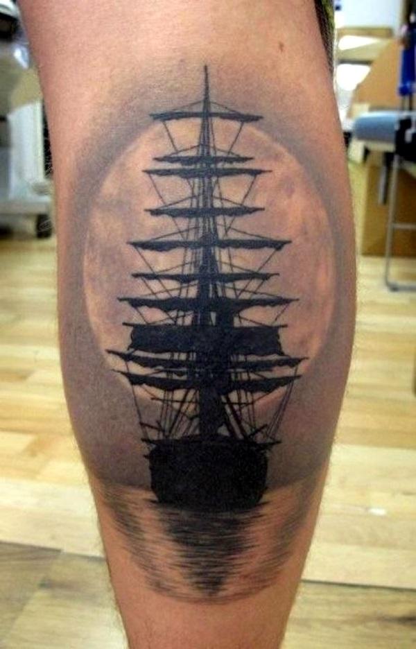 Boat at sunset tattoo