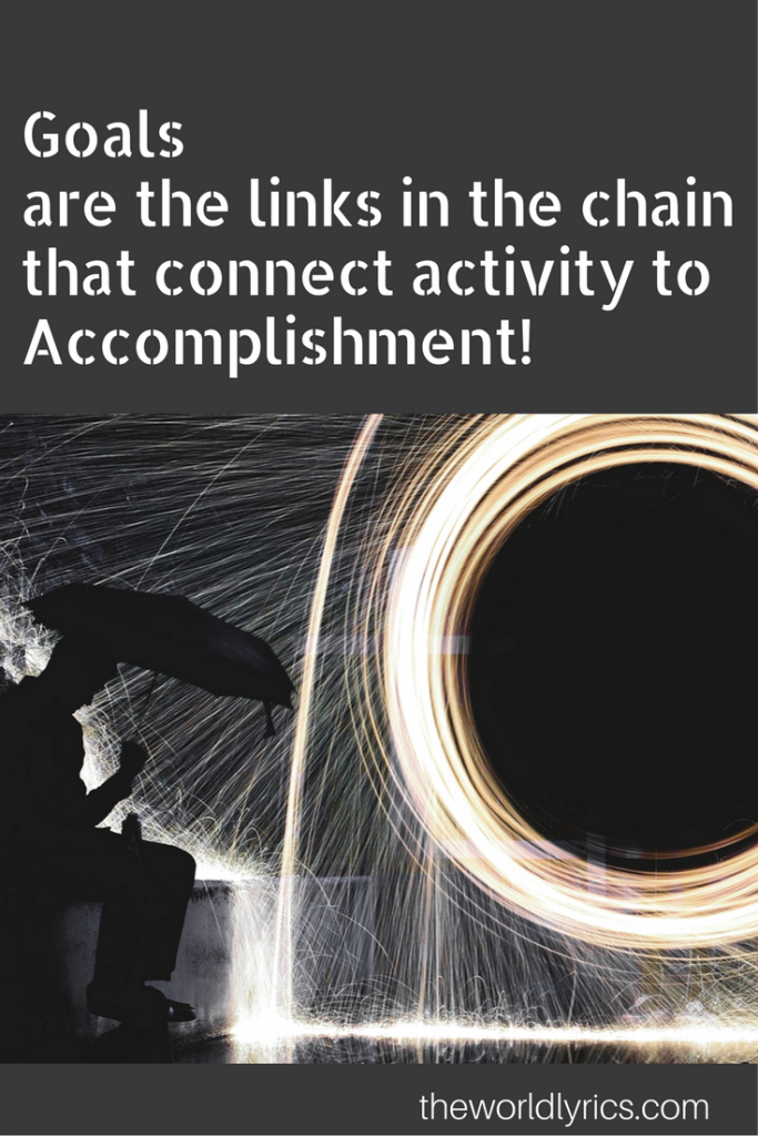 Goals are the links in the chain that connect activity to Accomplishment